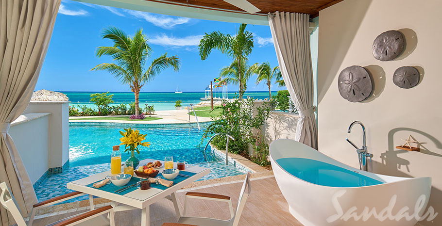 Beachfront Swim-up Honeymoon One-Bedroom Butler Suite w/ Patio Tranquility Soaking Tub - SB1B