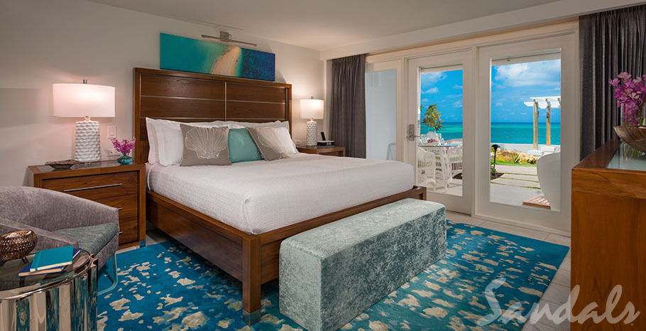 Sandals Montego Bay Oceanfront Honeymoon Walkout Club Level Room w/ Patio Tranquility Soaking Tub - WOFT